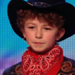 11 year old knife thrower Edward Pinder throws knives at Simon Cowell on Britain's Got Talent 2014 auditions