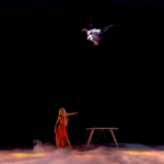 How did female magician Chloe Louise Crawford  fly in her trick on the last semi finals of Britain's Got Talent 2015?
