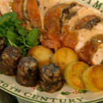 Turkey breast with black pudding and thyme baked potatoes by Bryan Turner on Christmas Kitchen with James Martin