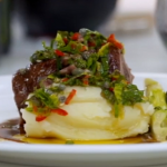 Lamb with buttery mash potatos and salsa Verde dressing by Tom Kerridge on Food & Drink