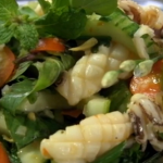 Hot Thai squid seafood salad by the Hairy Bikers in phuket