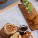 British Tapas that includes mini Scotch Eggs, Pea with Mint soup and Tunworth Cheese by Michel Roux Jr