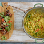 Jamie's Chicken Laksa with  Squash and spiced Thai Noodles on 15 Minutes Meals