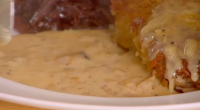 "Si and Dave cooked an appetizing pork chops with red cabbage and whole grain mustard dish on their Best of British foods series. The Bikers says: ""A creamy honey mustard..."