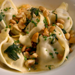 Raymond Blanc ceps mushroom tortellini with roasted nuts and sage butter on Spring Kitchen with Tom Kerridge