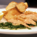 John Torode trout with pork crackling and potato chip recipe gets the sixth Invention Test of MasterChef 2014 on the way