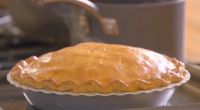 "The Bikers make a delicious looking vegetarian pie on their Best of British cooking series. The Bikers says: ""Preheat a baking tray in the oven to put the pie on..."