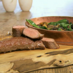 Angela Hartnett and Luke Holder lion of goat with wild garlic and morels mushroom on Spring Kitchen with Tom Kerridge