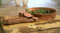 Angela Hartnett and Luke Holder serves up a goat recipe on Spring Kitchen with Tom Kerridge. They cook a tasty looking lion of goat with wild garlic, artichokes and morels...