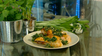 "Tom Kerridge cooks roast guinea fowl with spring green salsa verde on today's Spring Kitchen. Tom says: ""A fresh salsa verde makes a light spring dinner of this traditional game..."