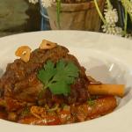 Tom Kerridge slow cooked lamb shank with borlotti beans and merguez sausage recipe on Spring Kitchen