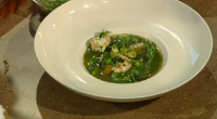 "James Martin serves up a langoustines soup for spring with Jersey Royals, peas, asparagus and salsa verde on Saturday Kitchen Live. James says: ""Try this healthy soup packed with spring..."