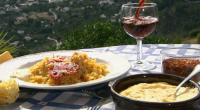 Rick stein cooks paella with monkfish and red peppers on Spring Kitchen with Tom kerridge. The ingredients are: 4 tbsp olive oil, 75g finely chopped shallot, 1 small head of...