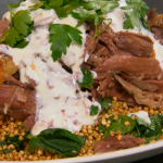 Rachel Khoo slow roasted lamb with herbs and toasted buckwheat on Spring Kitchen with Tom Kerridge