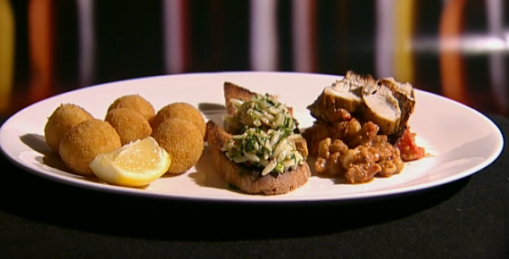 Phil's dish includes Italian dip with chick pea, risotto rice balls ...