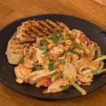 Gino bang bang chicken salad with radish and cucumber salad recipe on Let's Do Lunch