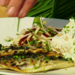 James Tanner barbecue mackerel with crème fraîche potato salad and beetroot salsa on Loraine