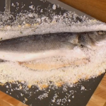 Gino D'Acampo salt crusted seabass with thyme and potatoes recipe on Let's Do Lunch