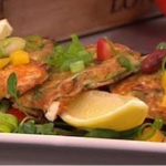 Shelina Permalloo Pea and feta fritters with salsa salad recipe on Lorraine