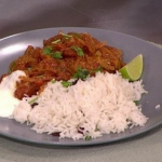 James Tanner Aubergine and chicken curry with coconut rice recipe on Lorraine