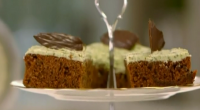 Rachel Allen makes a delicious looking after dinner mints chocolate cake on Rachel Allen's Cake Diaries. The ingredients are: 125 g dark chocolate, in drops or broken into pieces, 50...