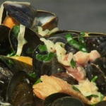 James Tanner Mussels with West Country cider bacon and cream recipe on Lorraine