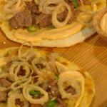 Tom Kerridge Flatbread with crispy pork cheeks and deep-fried shallots with taramasalata recipe on Saturday Kitchen
