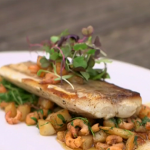 Brian Turner grey mullet with  brown shrimp and micro tarragon sauce recipe on A Taste Of Britain