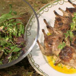 Brian Turner barbecued quail with rosemary and micro herb salad recipe on A Taste Of Britain