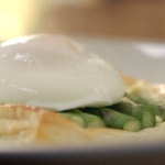 Asparagus with cream cheese tarts,  poached eggs and basil by Lorraine Pascale on How To Be A Better Cook