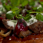 Tom Kerridge Beef and blue cheese puff pastry pizza recipe on Tom Kerridge's Best Ever Dishes