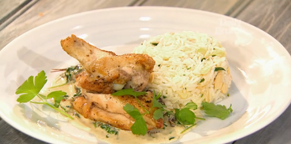 Simon Rimmer and Lisa Faulkner chicken with wild mushrooms and spinach ...