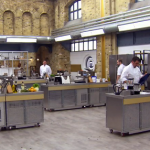 Justin, Brian, Mark, Darren and Ollie  cook for survival on  day one of MasterChef The Professionals 2014