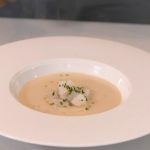 Michael Caines Jerusalem artichoke soup with white truffle oil recipe on Christmas Kitchen with James Martin