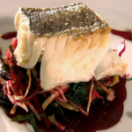 Rick Stein braised hake with Cornish salad and beetroot sauce recipe by son Jack on Saturday Kitchen