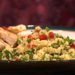 Gino pan fried chicken with pomegranate and cous cous recipe on Let's Do Christmas