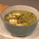 Gino Broccoli and Cauliflower soup with crispy chestnuts winter soup recipe on Let's Do Christmas