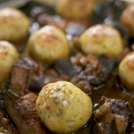 Tom Kerridge slow cooked beef and ale stew with dumplings recipe on Food and Drink Great British Dish