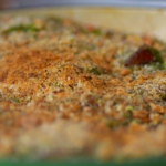 Tom Kerridge sausage and beans casserole with pesto topping recipe on Food and Drink
