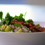 Lorraine Pascale spicy chilli con carne with guacamole recipe on Cooking the Nation's Favourite Food
