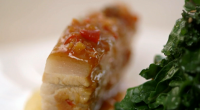 """Raymond Blanc serves up Kale with sweet-and-sour pork belly and quince pureé on Kew on a Plate. Raymond says: """"The variety of kale we have been growing in the garden..."""