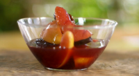 """Raymond Blanc serves up poached quince and winter fruit in spiced wine on Kew on a Plate. Raymond says: """"This dessert defines an exact moment in the season – the..."""