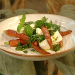 April Bloomfield Roasted carrots with carrot-top pesto and burrata mozzarella recipe on Saturday Kitchen