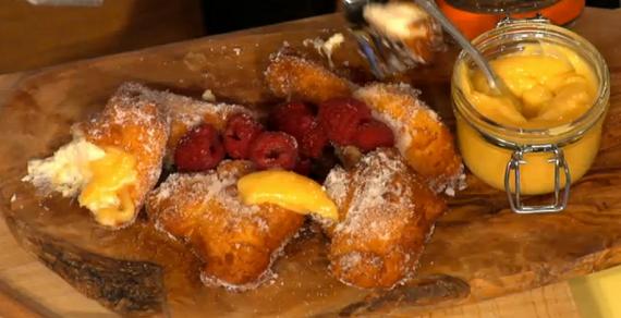 Simon Rimmer Lemon Ricotta Fritters with Lemon Curd and Raspberries ...