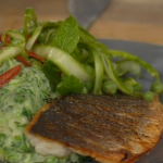 Jamie Oliver sea bass with pea and mash recipe on This Morning