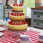 Mary Berry Three tier white chocolate and raspberry cheesecake recipe on The Great British Bake Off Masterclass 2015