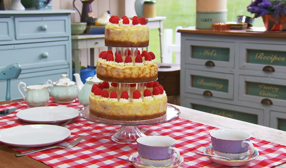 Mary Berry Three tier white chocolate and raspberry cheesecake recipe ...