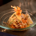 Peruvian steak and chips with ceviche made with tiger's milk on Ainsley's Big Food Adventure