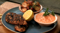 Ainsley Harriott served up tasty spiced Portuguese chicken with char-grilled peppers and almond sauce for Len Goodman on Len and Ainsley's Big Food Adventure. Ainsley's recipe was his dish of...