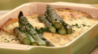 Brian Turner served up a his version of eggs Riviera called pancakes Riviera with chicken and Evesham asparagus, for Alistair McGowan on My Life on a Plate. Brian designed his...
